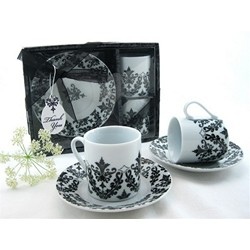 """Dramatic Damask"" Espresso Cup Favor Set"