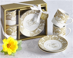 Mr. & Mrs. Espresso Cup Set in Gold (Set of 2)