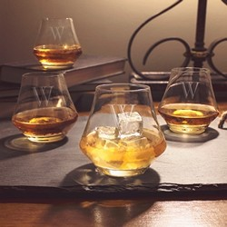 Personalized 9.75 oz. Contemporary Whiskey Glasses (Set of 4)