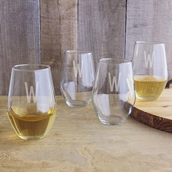 Personalized 19 oz. Contemporary Stemless Wine Glasses (Set of 4)