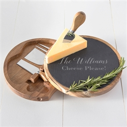 Personalized Slate and Acacia Cheese Board with Utensils