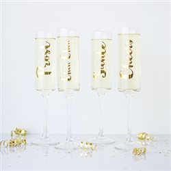 8 oz. Gold Cheers Contemporary Champagne Flutes