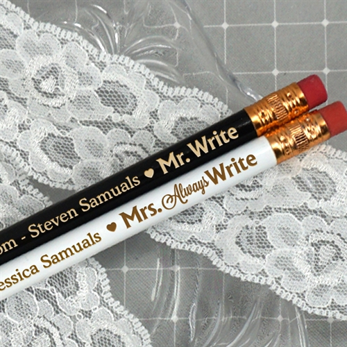Mr Mrs Write Personalized Pencils Set Of 2 ON SALE At The Wedding