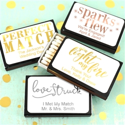 """Perfect Match"" Metallic Foil Personalized Matches - Set of 50 (Black Box)"