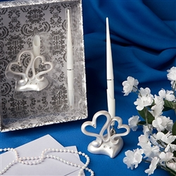 Interlocking  hearts design wedding pen set