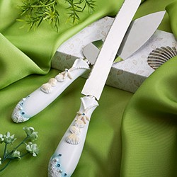 Finishing Touches Collection beach  themed wedding cake knife and server se