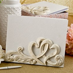Vintage style double heart design guest book