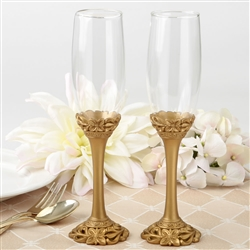 Gold lattice botanical collection flute set
