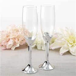 Simple elegance collection classic silver stem toasting flute set