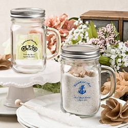 Personalized Mason Glass Jar with Metal Screw Top