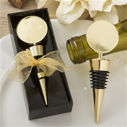 Perfectly plain collection gold metal wine bottle stopper with a gold metal round top