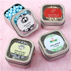Personalized Square Clear Top Mint Tin Favors