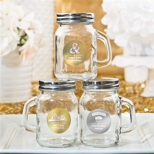 Personalized Metallics Glass Mason Jars With Handle On