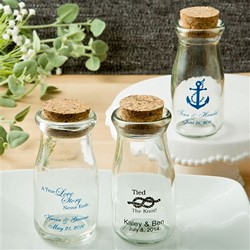 Printed Vintage Glass milk bottle with round cork top