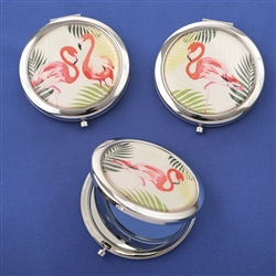 Flamingo compact mirrors - 3 assorted tropical designs (set of 18)