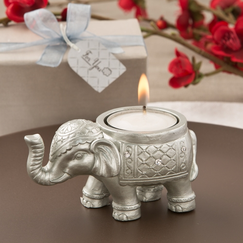 Good Luck Silver Indian Elephant Candle Holder On Sale