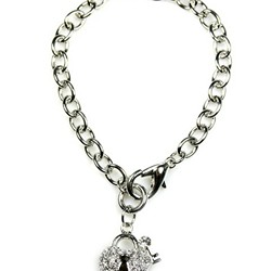 Crystal Heart Key/Lock Toggle Bracelet