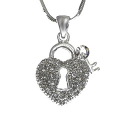 Crystal Heart and Key Necklace