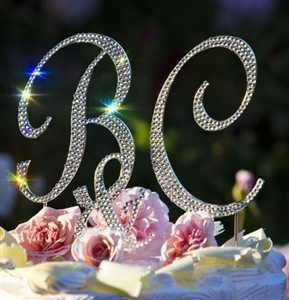 Rhinestone Covered Monogram Cake Toppers