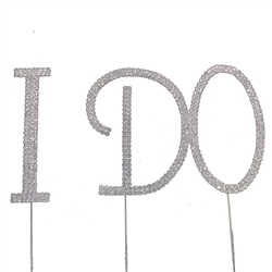 "Silver Tone Rhinestone Covered ""i DO"" Cake Topper"
