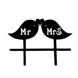 Mr & Mrs  Acrylic Love Birds Cake Topper
