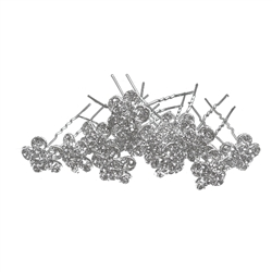 Round Crystals Flower  Hair Pins - 12 Pieces