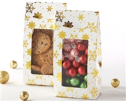 Gold Foil Snowflake Holiday Treat Bag (Set of 12)
