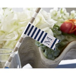 Personalized Party Straw Flags - Navy Stripe