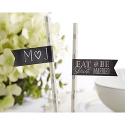 Personalized Party Straw Flags -  Eat, Drink & Be Married