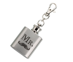 Mini Silver Flask - Mr. with Mustache