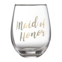 "Gold ""Maid of Honor"" Stemless Wine Glass"