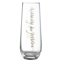 """Maid of Honor"" Stemless Champagne Glass"