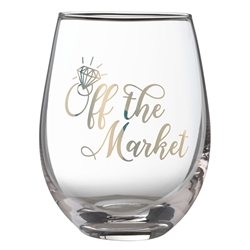"""Off the Market"" Stemless Wine Glass"