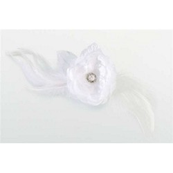 Lace/Feather Hair Clip/Pin-White
