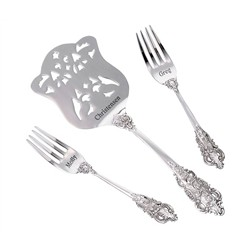 Personalized Silver Server & Two Forks Set