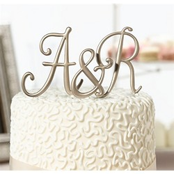 Gold Monogram Letter Cake Top