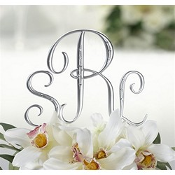 Silver Finish Monogram Cake Top with Rhinestones