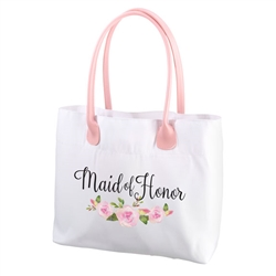 Watercolor Floral Maid of Honor Tote Bag