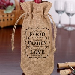 Burlap Wine Bag - Food & Family
