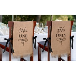 Her One, His Only - Burlap Chair Covers