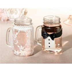 Bride and Groom Drink Glass Covers