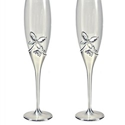 Silver Tone Butterfly Toasting Flutes