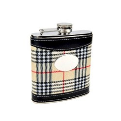 Personalized 6oz Plaid Golf Flask