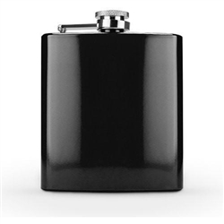 6 oz Glossy Black Stainless Steel Flask