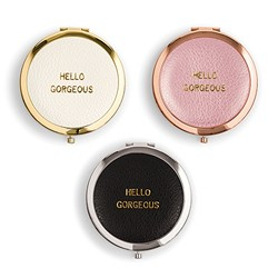 Faux Leather Compact Mirror - Hello Gorgeous Emboss