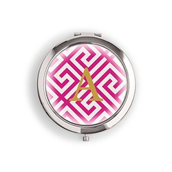 Designer Compact Mirror - Monogram On Greek Key Print