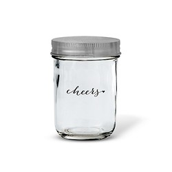 Glass Mason Jar With Silver Solid Lid - Printed (set of 12)
