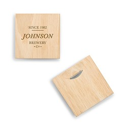Wood Coaster With Built-in Bottle Opener - Brewery Co. Etching (set of 2)