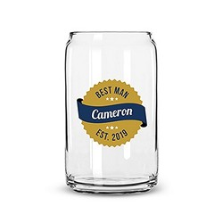 Beer Can Shaped Glass Personalized - Gold Seal Printing