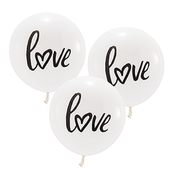 "17"" Large White Round Wedding Balloons - ""Love"" (Set of 3)"